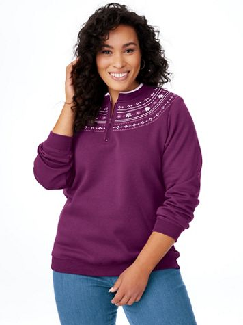 Printed Yoke Fleece Top - Image 1 of 6