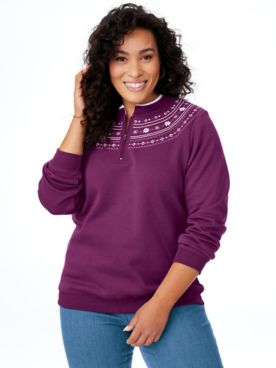 Printed Yoke Fleece Sweatshirt