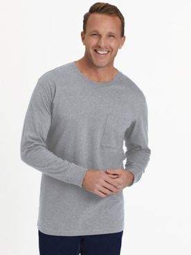 Everyday Jersey Knit Long-Sleeve Pocket Tee Shirt