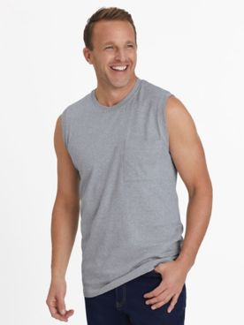 Scandia Woods Sleeveless Jersey Knit Pocket Tee Shirt
