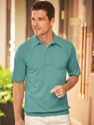 1950s Mens Shirts | Retro Bowling Shirts, Vintage Hawaiian Shirts John Blair® Short Sleeve Banded Bottom Polo $18.39 AT vintagedancer.com