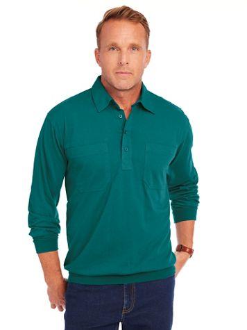 John Blair® Long-Sleeve Banded Bottom Polo Shirt - Image 1 of 20