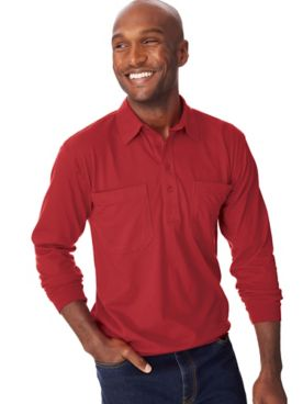 John Blair® Long-Sleeve Banded Bottom Polo Shirt