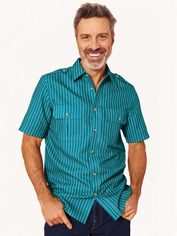 John Blair® Short-Sleeve Linen-Look Pilot Shirt - Image 1 of 15