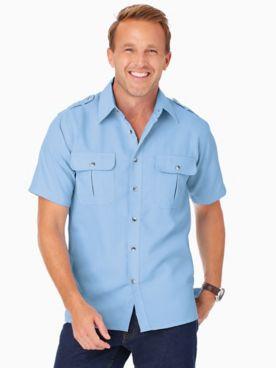 John Blair® Short-Sleeve Linen-Look Pilot Shirt