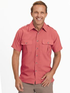 John Blair® Short-Sleeve Linen-Look Pilot Shirt