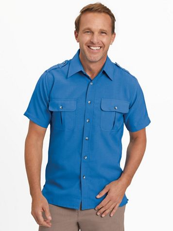 John Blair® Short-Sleeve Linen-Look Pilot Shirt - Image 1 of 14