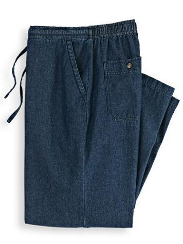 Scandia Woods Back-Elastic Drawstring Waist Denim Pants - Image 1 of 3