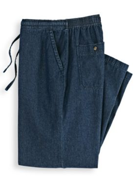 Scandia Woods Back-Elastic Drawstring Waist Denim Pants