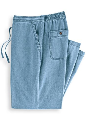 Scandia Woods Back-Elastic Drawstring Waist Denim Pants