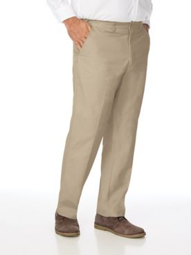 Adjust-A-Band Relaxed-Fit Plain-Front Cotton Pants