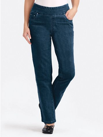 Flat Waist Washed Denim Jeans - Image 1 of 16