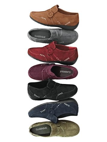 """""""Kelly"""" Faux Suede Slip-Ons by Classique® - Image 1 of 8"""