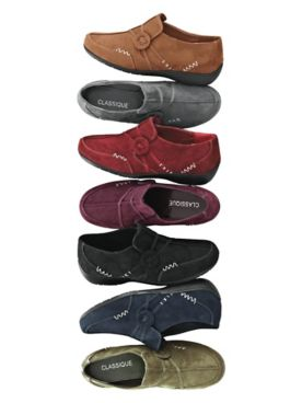 """Kelly"" Faux Suede Slip-Ons by Classique®"