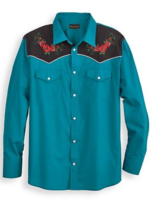Rockabilly Dresses | Rockabilly Clothing | Viva Las Vegas High Noon Embroidered Shirt  AT vintagedancer.com