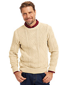 Scandia Woods Crewneck Fisherman Cable Sweater