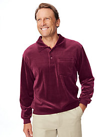 Men's Vintage Style Sweaters – 1920s to 1960s Irvine Park Banded Bottom Collared Velour Shirt $9.97 AT vintagedancer.com