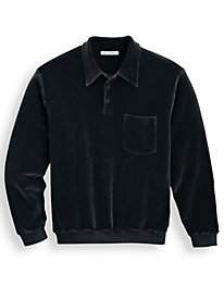 Irvine Park Banded Bottom Collared Velour Shirt