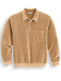 Irvine Park Banded Bottom Collared Velour Shirt