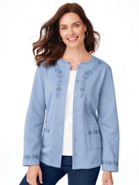 Embroidered Fleece Cardigan
