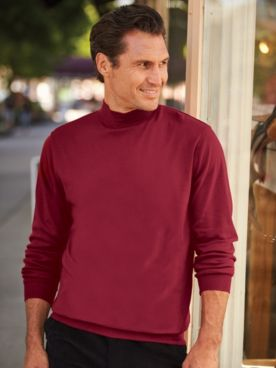 Scandia Woods Banded-Bottom Mockneck Shirt