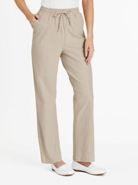 Crinkle Cotton Pull-On Pants