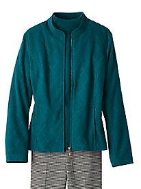 Microsuede Zip-Front Jacket