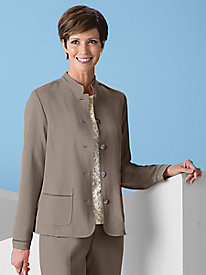 Look-of-Linen Mandarin Collar Jacket by Koret®