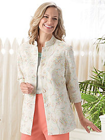 Look-of-Linen Embroidered Jacket by Koret