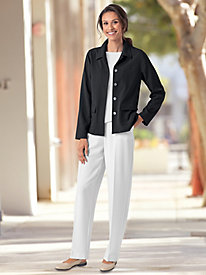 Look-of-Linen Pull-On Flat-Front Pants by Koret®