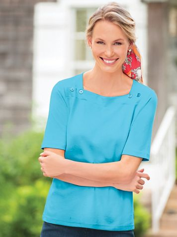 Elbow-Sleeve Square-Neck Tee - Image 1 of 12
