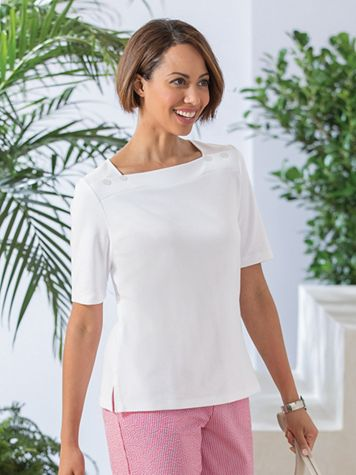 Elbow-Sleeve Square-Neck Tee - Image 1 of 1