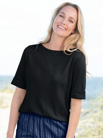 Roll-Sleeve Boat-Neck Tee - Image 1 of 10