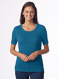 Short-Sleeve Crinkle-Knit Tee