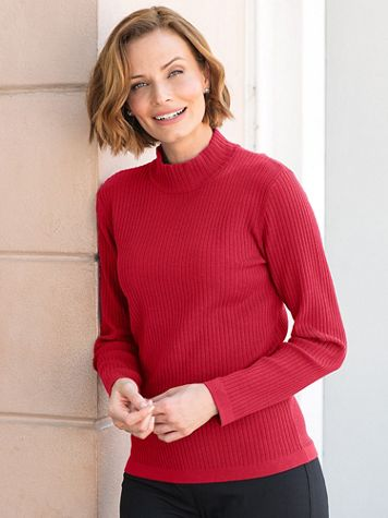 Silk-Blend Mockneck Sweater - Image 1 of 12