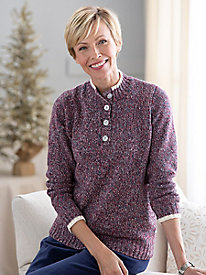 Marled Tipped Henley Sweater