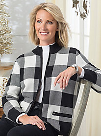 Buffalo Check Zip-Front Sweater