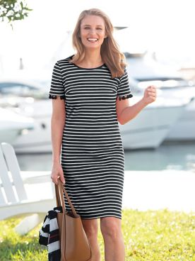 Stripe Short Sleeve Tassel Dress