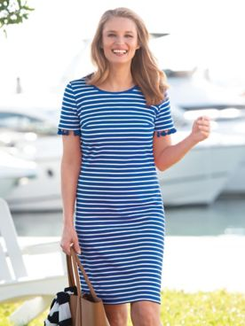 Stripe Short Sleeve Tassel Dress