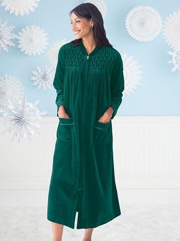 Velour Smocked Robe - Image 1 of 10