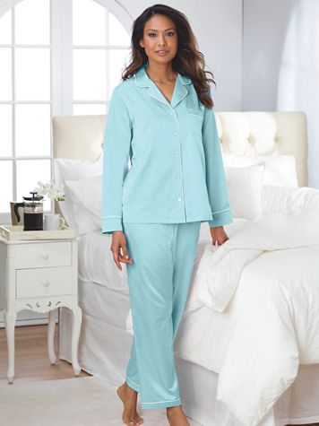 Brushed Back Satin Pajama Set - Image 1 of 5