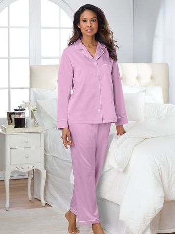 Brushed Back Satin Pajama Set - Image 1 of 3