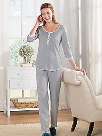 Miss Elaine Striped Rib Knit Pajamas