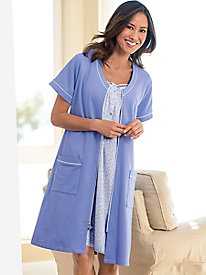 Eileen West Short French Terry Zip Front Robe