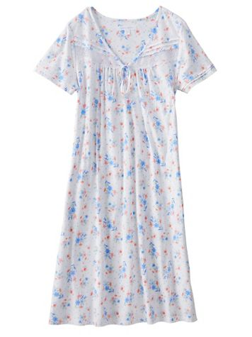 Carol Hochman® Floral-Print Cotton Knit Nightgown - Image 2 of 2