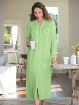 Zip-Front Knit Robe