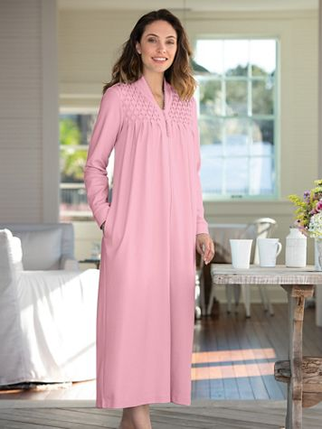 Zip-Front Knit Robe - Image 1 of 2