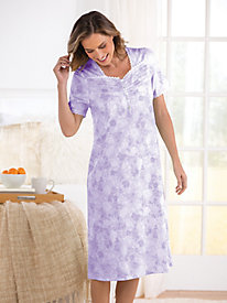 Cotton/Modal Knit Floral Short-Sleeve Nightgown