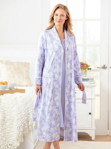 Cotton/Modal Knit Floral Wrap Robe - Image 1 of 1