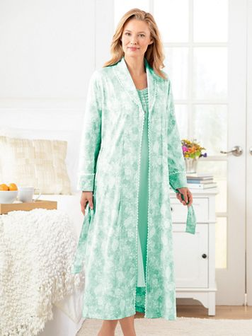 Cotton/Modal Knit Floral Wrap Robe - Image 2 of 2